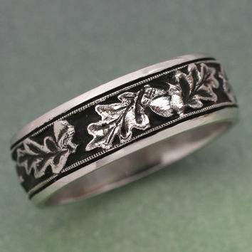 OAK LEAVES Wedding Band - made in 14k white , rose or yellow gold.  For men or women, Acorn Ring
