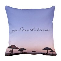 """On Beach Time"" California Palapa Sunset Photo Throw Pillow"