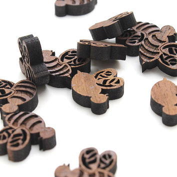 Spring Bees Mini Charms Itsies Laser Cut by TimberGreenWoods