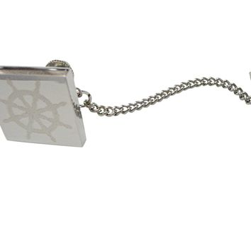Silver Toned Etched Nautical Helm Tie Tack