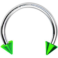 16 Gauge Green Spike Horseshoe Circular Barbell 3/8"