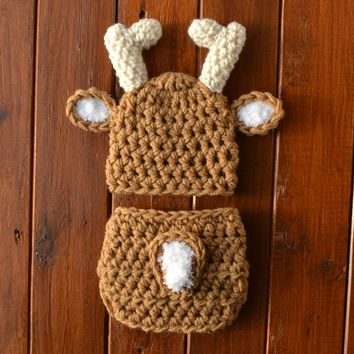 Warm Brown Baby Deer Outfit Newborn Photo Prop