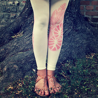 Free Shipping - Footless Ivory Tattoo Tights Leggings Coral Leaves - Made to order :)