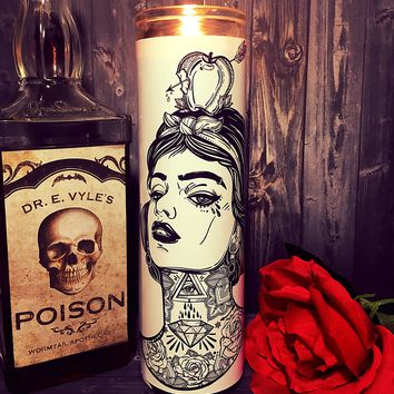 Snow White, Snow White Evil Queen, Princess, Flash Tattoo Art, Tattoo Art, Hipster, Home Decor,  Scented  Candle, Prayer Candle, Gift Idea,