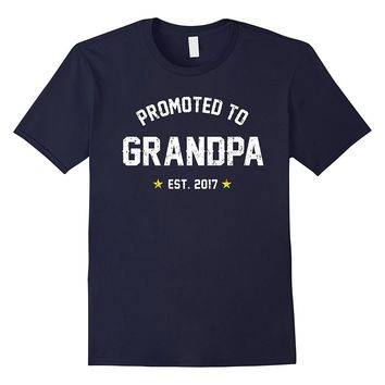 Men's Promoted To Grandpa Shirt: Gift For New Grandpa Est. 2017