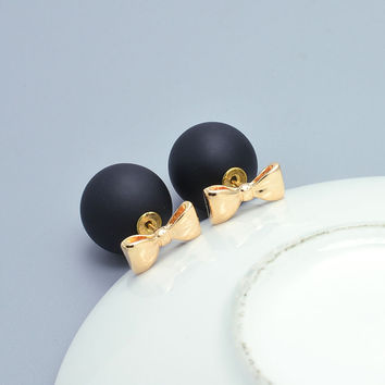 Pearl and Bow Double Sided Stud Earrings