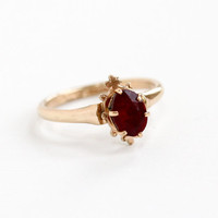 Antique Rosy Yellow Gold Tone Simulated Garnet Ring -  1910s Size 6 1/2 Dark Red Glass Stone Edwardian Jewelry Hallmarked Trade S Mark