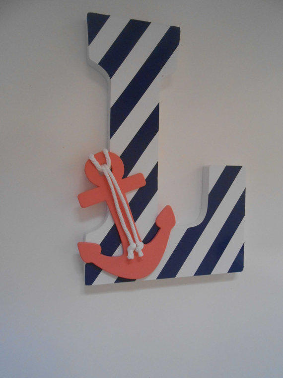 Teal nautical nursery : Wooden letter decor nautical