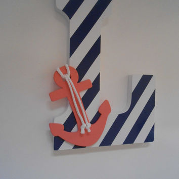 Nautical Letter - Nautical Nursery - Wooden Letters - Coral And Navy Decor - Wedding Decor - Nautical Baby - Lakehouse Decor - Beach Decor