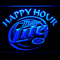 Miller Lite Happy Hour Beer Bar LED Neon Sign with On/Off Switch 7 Colors to choose