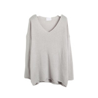 Loose Knit V Neck Pullover
