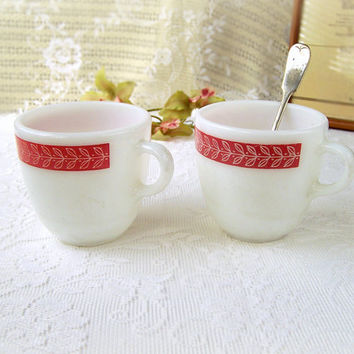 RARE Vintage Pyrex Mugs Coffee Cups - 1950s Red Leaf Pattern on heavy white milk glass , hard to find, Corningware Glass