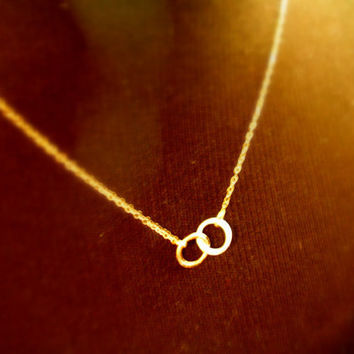 14k Gold & Fine Silver Tiny Two Circle Necklace with 14k Gold Chain Two Toned Linked Together Necklace MADE TO ORDER