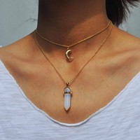 Crystal Moon Layered Necklace