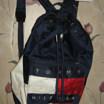 Vintage  1990  Grunge Americana Tommy Hilfiger Backpack// Beach Bag