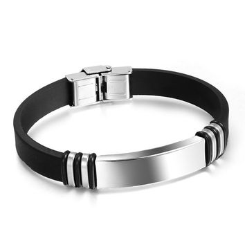 2018 New Fashion Wristband black Punk Rubber Silicone Stainless Steel Men Bracelets Bangles pulseras hombre cauch