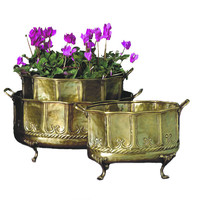 Dessau Home Antique Brass Embossed Footed Planters Set/3 - W647