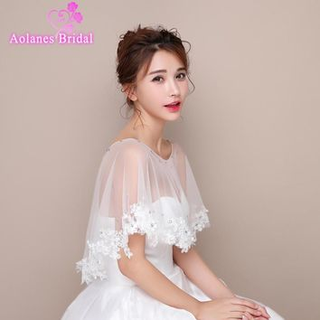 High Quality 2017 New Ivory High Low Lace Crystals Tulle Bridal Wedding Bolero Jacket Wedding Shrug Cape Shawl Real Photos
