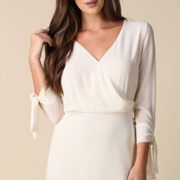 Wonderful Night Ivory 3/4 Tie Sleeve Cross Wrap V Neck Keyhole Back Shift Mini Dress