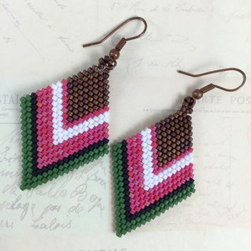 Miyuki Bead Brick Stitch Earrings, Beadwork Earrings, Beaded Earrings,Peyote Stitch Earrings, Copper Earrings, Pink Earrings