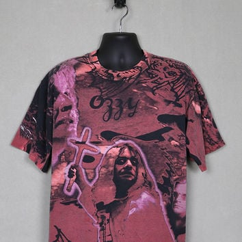 Ozzy Osbourne t shirt, Black Sabbath, big all over print, vintage rare heavy metal, tie dye style