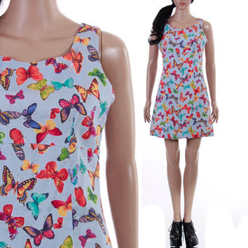 90s Butterfly Print Dress Vintage Club Kid Raver Kawaii Hipster Photorealistic Colorful Short Summer Clothing Women's Size Medium