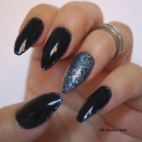 Black coffin nails, Bling Nails,  Nail designs, Nail art, Christmas Nails, Stiletto nails, Acrylic nails, nails, Fake nails, False nails