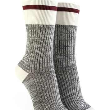 Marled Striped Crew Socks