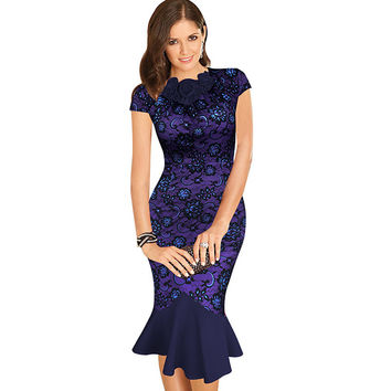 Vfemage Womens Elegant 1950s Vintage Flower Lace Fitted Stretch Bodycon Formal Party Mermaid Pencil Sheath Wiggle Dress 988