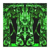 Egyptian Priests and Cobras in Green I C1 SDL Canvas Print