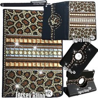 GOLD Leopard Jersey Bling® Ipad Air Case with Crystals, Rhinestones Faux Leather Folio with 360 Rotating Case w/FREE Stylus & XTRA BLING!