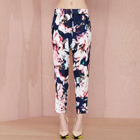 Retro Floral Print Pleated Harem Pants