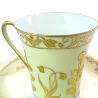 Antique Shabby Chic Tea Cup & Saucer Pale Yellow Gold Flowers Vintage Demitasse Coffee Espresso Chocolate Hand Painted Nippon 1910s Teacup