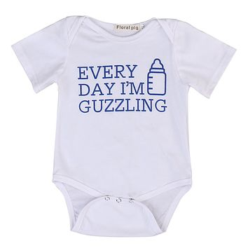 Summer Newborn Infant Baby Boy Girl Short Sleeve Romper Bottle Jumpsuit Outfits Sun-suit Clothes