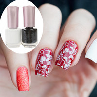 $3.41 White & Black Color Nail Art Stamping Polish Nail Varnish Stamp - BornPrettyStore.com