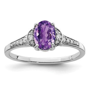 Sterling Silver Diamond & Genuine Oval Amethyst Ring