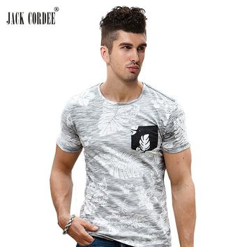 JACK CORDEE 2017 Summer T-Shirt Men Plant Print Designs Cotton White T Shirts Slim Fit Hawaiian Shirt Tops O-Neck Brand T Shirt