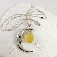 Moon sterling silver pendant necklace with extremely rare yellow genuine sea glass --- Crescent sea glass jewelry