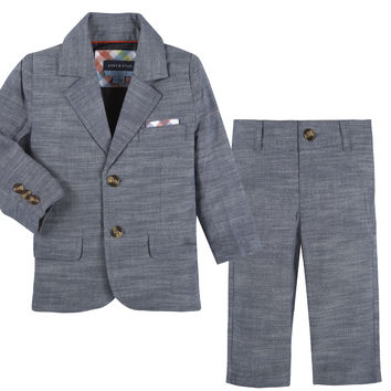Blue Chambray Blazer & Pant Set