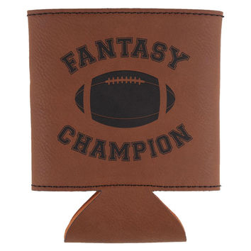 Fantasy Football Champion Etched Leatherette Can Cooler