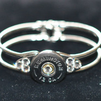 Remington  12 Gauge Shotgun Shell  Nickel Bullet Bracelet Silver Plate 7 Swarovski Crystals