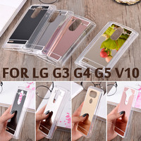 Slim Mirror Case Luxury Acrylic Soft TPU Silicon Protective Back Cover Celular For LG G3 G4 G5 V10 Phone Cases