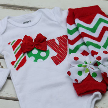 Newborn Christmas Outfit -- *Christmas Joy* bodysuit and leg warmers -- My First Christmas -- chevron and polka dots - Order by 12/5