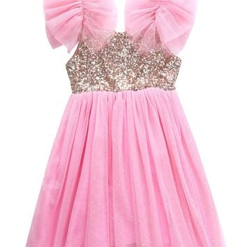Pinks Princess Baby Kids Girls Party Wedding Sequins Tutu Gown Fancy Dress 2-7Y