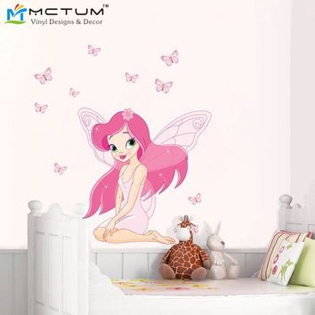 2017 New Pink Angel Girl Room Flower Fairy and butterfly Wall Decal Art Stickers Children Nursery Bedroom Decorative