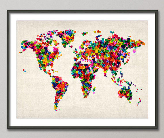 Colourful Love Hearts Map of the World Map Art Print on Etsy