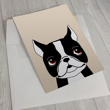 Boston Terrier Greeting Card - Boston Greeting Card - Card for boston terrier lovers - dog lover card - notecard for dog lovers