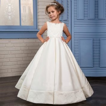 Custom Made Flower Elegant Flower Girl Dress White Ball Gown with Beads | Sleeveless Floor Length First Communion Dress