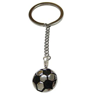 Silver and Black Soccer Ball Pendant Keychain