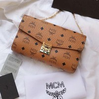 MCM Fashion Women Shopping Bag Leather Metal Chain Shoulder Bag Crossbody Satchel Brown I-BCZ(CJZX)